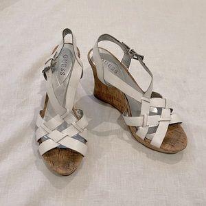White Leather Cork Wedge Heels